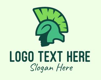 Pea - Green Organic Spartan logo design