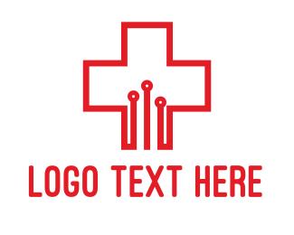 Technician - Medical Circuit Cross logo design