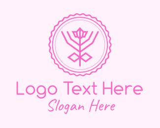 Leaf - Pink Flower Badge logo design