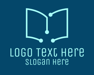 Online Learning - Tech Book logo design