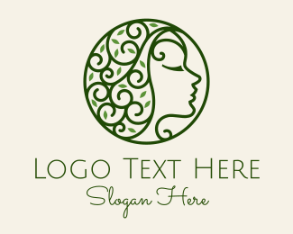 Therapist - Green Vintage Floral Woman Profile logo design