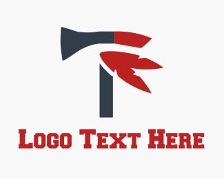 Knife - Red Axe logo design