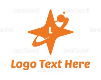Meteor - Orange Star Orbit logo design