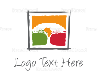 Madagascar - Africa Tree logo design