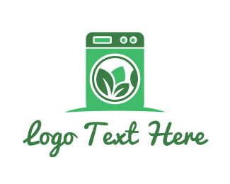 Cleansing - Green Washing Machine logo design