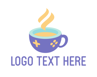 Internet Cafe - Blue Coffee Cup Gaming logo design