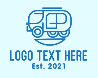 Toy Train - Blue Train Transport logo design