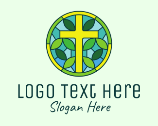 Leaf - Herbal Cross Stained Glass logo design