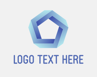 3d - Blue 3D Pentagon logo design
