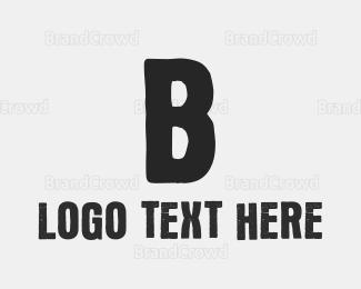 Hip Hop - Grey Letter B Ink logo design