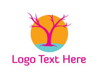 Acid - Pink Tree logo design