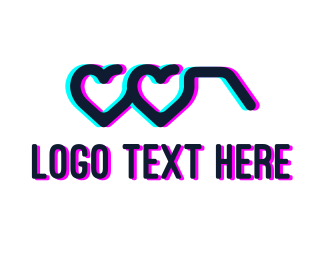 Valentines - Anaglyph Heart Glasses logo design