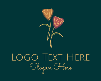 Purple Leaf - Minimalist Tulip Flowers logo design