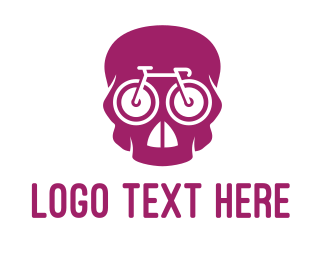 Undead - Pink Skull Cyclist logo design