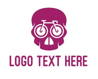 Road Bike - Pink Skull Cyclist logo design