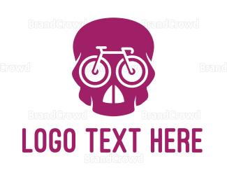 Bicycle - Pink Skull Cyclist logo design