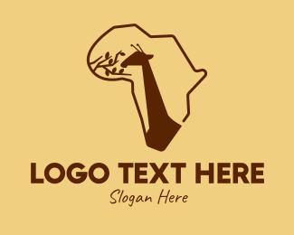 Giraffe - African Continent Giraffe logo design