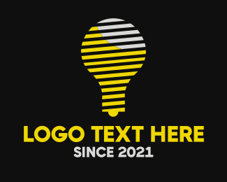 Idea - Stripe Idea Bulb logo design