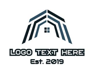 Blue House - Blue Mosaic House logo design
