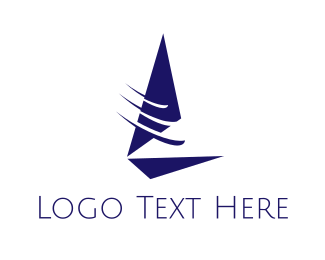 Sailboat - Fast Blue Sailboat  logo design