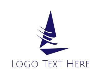 Sailboat - Fast Blue Sailboat  logo design