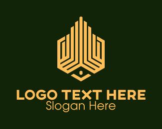 Condo - Yellow Building Construction logo design