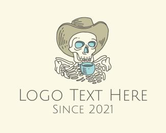 Skeleton Coffee Cafe Barista Logo Maker
