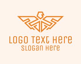Authority - Orange Falcon Wings Badge logo design