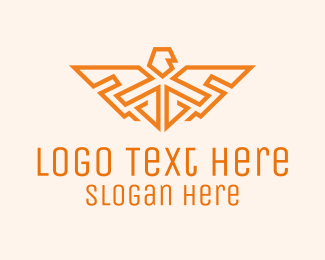 Corps - Orange Falcon Wings Badge logo design
