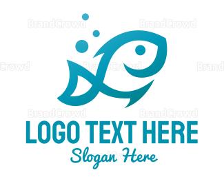Tuna - Blue Fish Outline logo design