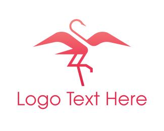 Flamingo - Pink Elegant Flamingo logo design