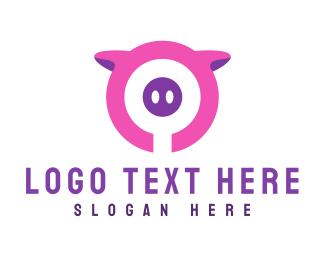 Pork - Pink Pig Circle logo design