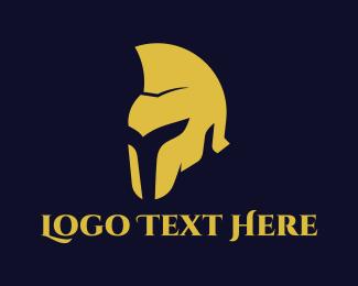 Spartan - Golden Helmet logo design
