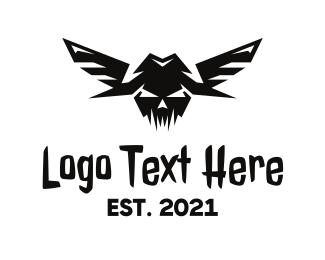 Fly - Scary Flying Skull logo design