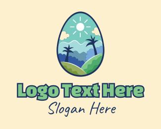 Hills - Easter Egg Landscape logo design