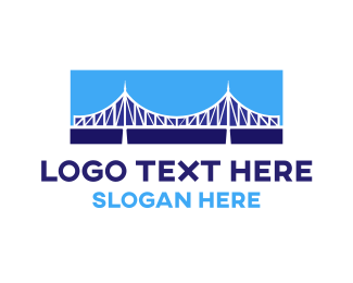 Long - Blue Bridge Construction logo design