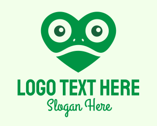 Frog Eyes - Green Heart Frog logo design