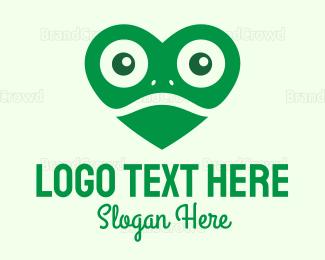 Pest - Green Heart Frog logo design