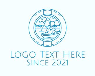 Fisheries - Blue Fisherman Badge logo design