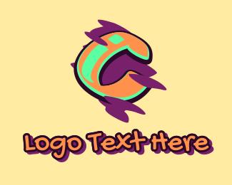 Teenager - Graffiti Art Letter C logo design