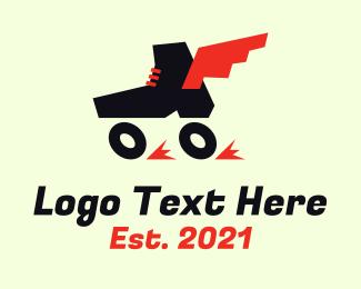 Winged - Winged Roller Skates logo design