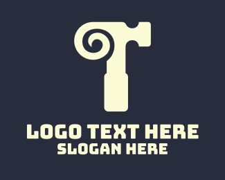 Mallet - Horn Hammer Letter T logo design