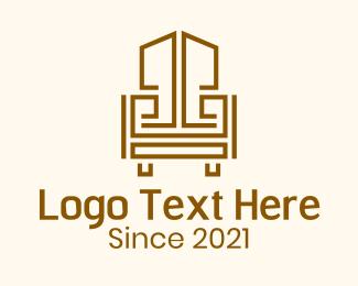 Wooden - Geometric Wooden Armchair logo design