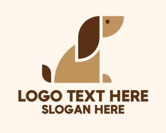 Dog Shelter - Geometric Brown Dog logo design