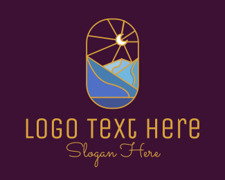 Scenic - Stained Glass Moon Valley logo design