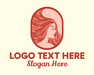 Hair Dye - Red Hair Woman logo design