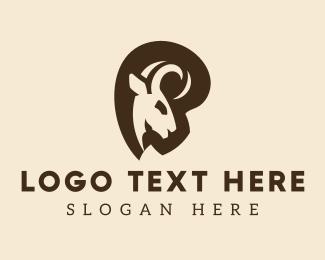 Mouflon - Curled Horns Ram logo design
