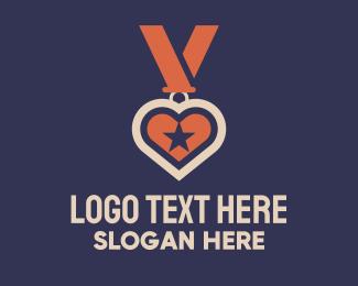 Excellence - Heart Medal logo design