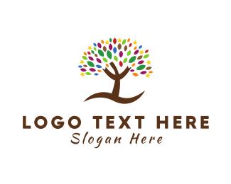 Brown Tree - Stars & Leaves logo design