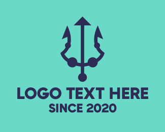 Seafood Restaurant - Blue Marine Trident logo design